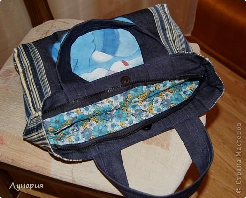 """""""Мечтательный кот"""" Сумка джинсовая. Кот нарисован акриловыми красками для ткани. фото 3"""