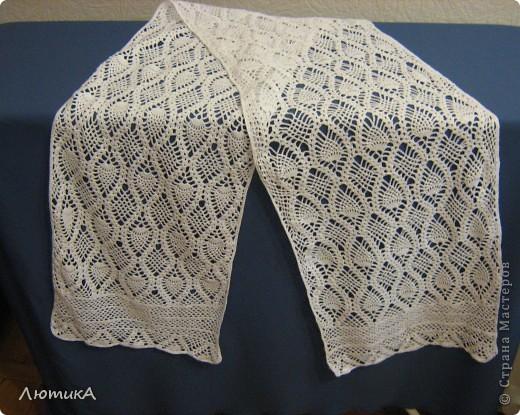 Вот связался за 1,5 месяца шарф по заказу мамы,  торопилась к первому сентября. Ширина  35 см на 1,90.  фото 1