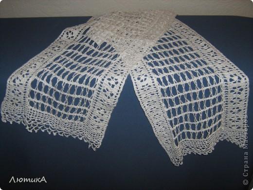 Вот связался за 1,5 месяца шарф по заказу мамы,  торопилась к первому сентября. Ширина  35 см на 1,90.  фото 9