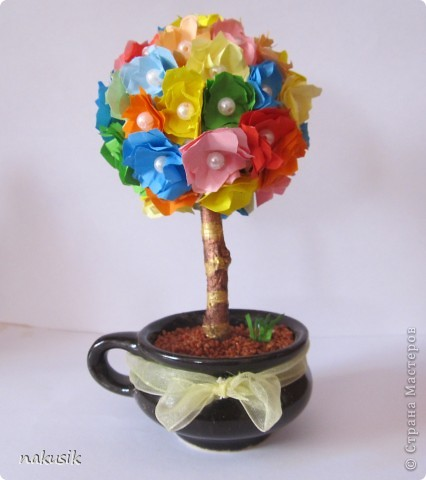 деревце в кофейной чашечке) снизу насыпан крашеный песок) фото 1