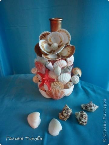 Графин, декорированный ракушками. фото 1