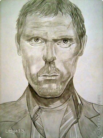 В художественную студию я никогда не ходила. Но рисовать люблю, просто для себя. Портрет Хью Лори (он же Доктор Хаус, герой одноименного сериала) я выполнила по уроку Луиса Серрано, который нашла в сети. Надеюсь, хоть немного похоже? :) фото 1