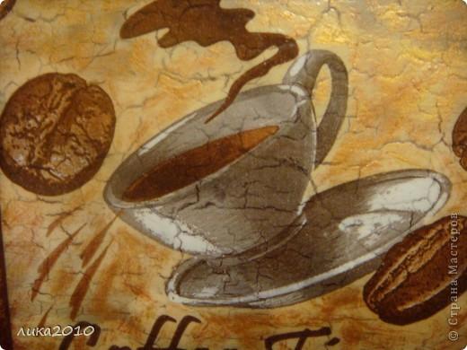 Попросил знакомый человечек картинку про кофе. Сделала, получилось по мотивам другой работы http://stranamasterov.ru/node/227549 . Но так как стена на которой она будет висеть почти белая, то не рискнула делать повтор, - он слишком темный и был бы резким пятном на стене. фото 2