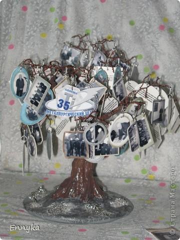 дерево с фотографиями  вместо листьев.  фото  коллеги молодого, его семейные  немного и наши с работы (везде где его нашла) фото чуть больше ста. уменьшены, обработаны в программе в компе. рамки наложила сразу. фото ч/б а рамки цветные. мне так больше нравится почемуто...  фото 1