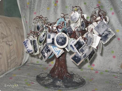 дерево с фотографиями  вместо листьев.  фото  коллеги молодого, его семейные  немного и наши с работы (везде где его нашла) фото чуть больше ста. уменьшены, обработаны в программе в компе. рамки наложила сразу. фото ч/б а рамки цветные. мне так больше нравится почемуто...  фото 5