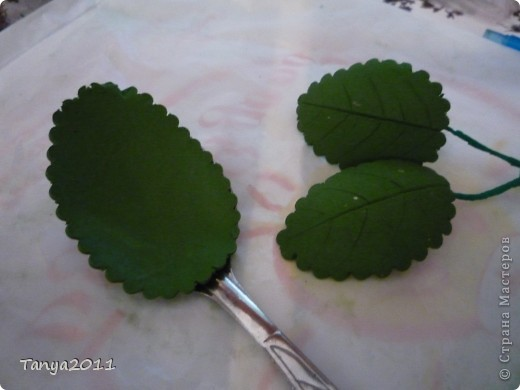 В маленьких городах не всегда можно купить специальные приспособления для изготовления листьев, стебельков. Поэтому приходится придумывать. Вот до чего додумалась я. Может, кому-то пригодится. фото 15