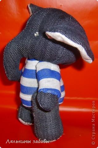 слоник-морячок.Ростик 15 см.Нитяное крепление. Глазки -стразики. фото 3