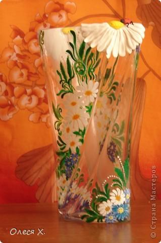 Вот, расписала на заказ первую вазу))) Честно говоря, было страшно, потому что никогда раньше этого не делала. Заказчица вроде осталась результатом довольна, она заказывала эту вазу для свекрови, а свекровь любит полевые цветы, вобщем надеюсь с дизайном я угадала, и ее свекрови все понравится)) Так что выставляю на ваш суд своего расписного первенца))) фото 7