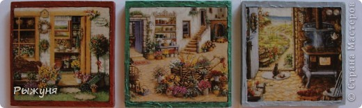Здравствуйте, жители Страны Мастеров! Продолжаю украшать дачу. Мини-панно (12 х12 см) будут оформлять лестницу с первого этажа на второй. Рамки из минеральной пасты. фото 1