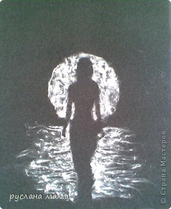 увидела у  Надежды Путиловой картину, сделаную из тополиного пуха, мне очень понравилось, решила повторить! но тополиного пуха уже не оказалось, воспользовалась ватой. ссылка на оригинал http://stranamasterov.ru/user/57896 фото 1