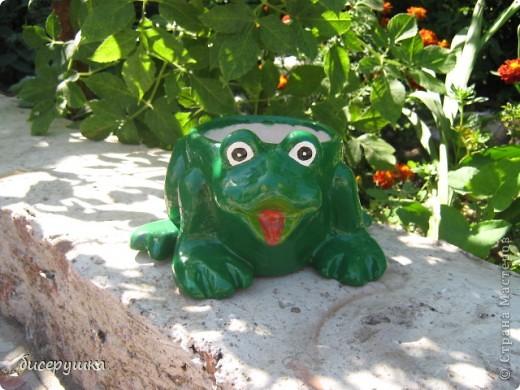 Для рабочего места понадобилась подставка для ручек и карандашей, решила сделать в красивом исполнении, но ... не судится этой жабке стать  подставкой, уж слижком объёмной она вышла, пойдёт под цветочки. фото 1