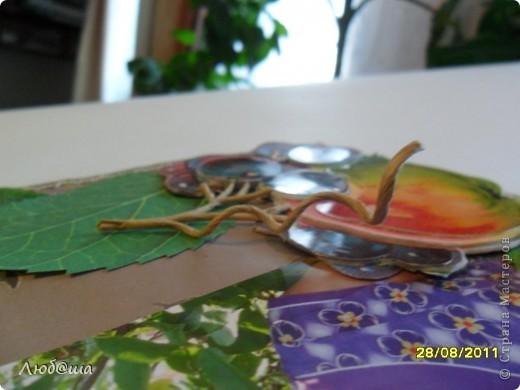 Спасибо Лена_Лена за такую интересную игру. Долго готовилась, складывала в голове различные варианты. Представлялась открытка, без яблочка, в коричневых тонах.... Но стоило только начать... картинка склалась сама, и плевать ей было на мои варианты. Срочно потребовалось фото на фоне яблони.... фото 3