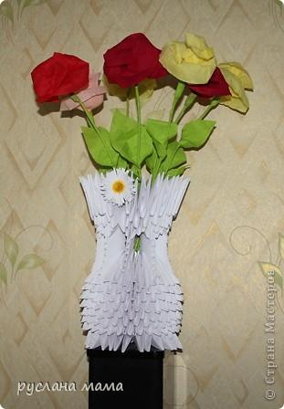 Поделка изделие 8 марта Валентинов день День матери День рождения Оригами китайское модульное ваза из модулей оригами Бумага Бумага гофрированная фото 4