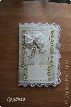 Еще один заказ на оформление коробочки для свадебного подарка и открытка =) Сложно фотографировать, так как бумага вся переливается, бликует... фото 2