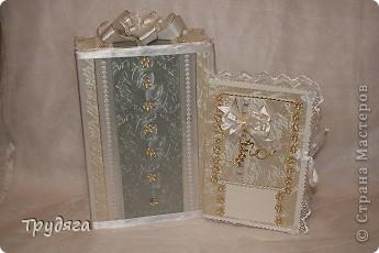 Еще один заказ на оформление коробочки для свадебного подарка и открытка =) Сложно фотографировать, так как бумага вся переливается, бликует... фото 1