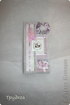 Еще один заказ на оформление коробочки для свадебного подарка и открытка =) Сложно фотографировать, так как бумага вся переливается, бликует... фото 8