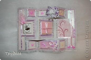Еще один заказ на оформление коробочки для свадебного подарка и открытка =) Сложно фотографировать, так как бумага вся переливается, бликует... фото 6
