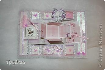 Еще один заказ на оформление коробочки для свадебного подарка и открытка =) Сложно фотографировать, так как бумага вся переливается, бликует... фото 7