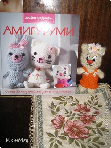 """Недавно прикупила одну интересную книжицу под названием """"Амигуруми. Живые игрушки"""". Ну, и решила попробовать связать себе киску... Получилась киска, но, правда, по мотивам...   фото 17"""