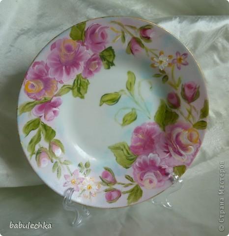 Мне так понравились  тарелки в технике шебби шик ,что захотелось порисовать.Нарисовала ,но розы у меня не такие,а как я умею. фото 2