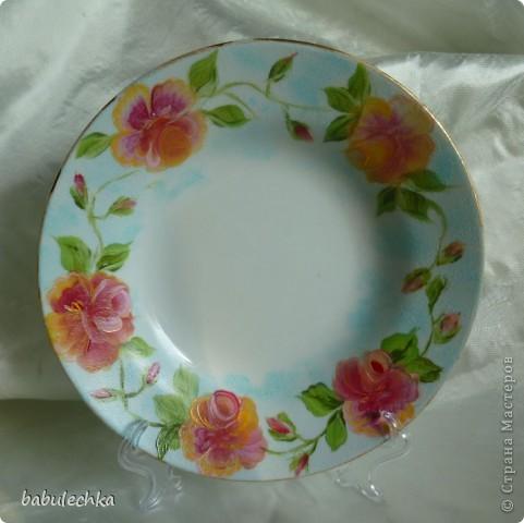 Мне так понравились  тарелки в технике шебби шик ,что захотелось порисовать.Нарисовала ,но розы у меня не такие,а как я умею. фото 4