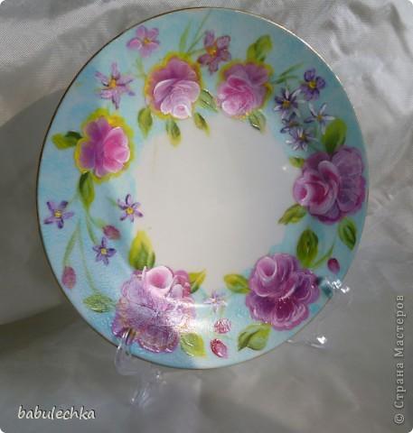 Мне так понравились  тарелки в технике шебби шик ,что захотелось порисовать.Нарисовала ,но розы у меня не такие,а как я умею. фото 3