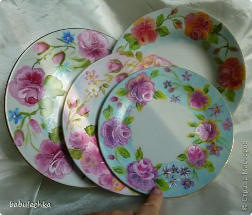 Мне так понравились  тарелки в технике шебби шик ,что захотелось порисовать.Нарисовала ,но розы у меня не такие,а как я умею. фото 1