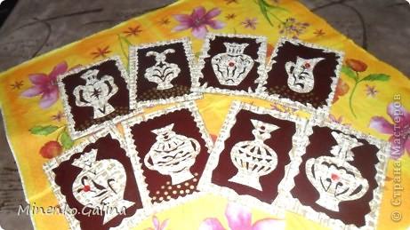 Уж очень понравился картон насыщенно-шоколадного цвета. С ним хорошо сочетались остатки обоев.Вышел такой набор кувшинов.Уже после фотографирования к ним добалены очень мелкие светящиеся в темноте компоненты.Поэтому мои кувшины волшебные-днём горят рубинами, а ночью светятся. №1-Шахерезада. №2-Nono4ka 2001 №3-Сургай Настя №4-bagira 1965 №5-Jane №6-Татьяна Имполитова №7-останется мне №8-Юляшка Приходько фото 1