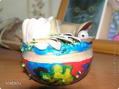 Здравствуйте! Хочу представить мою новую работу с ракушками. Эту гшкатулку мне заказали на день рождения 8-летней девочки. Была куплина деревянная основа шкатулки. И вот что получилось. Это крышка. фото 8