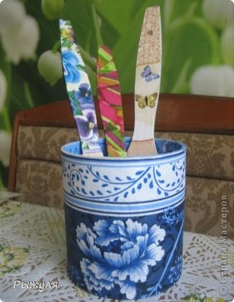 Вот такую подставочку для лопаточек сделала в свою голубую кухню фото 1