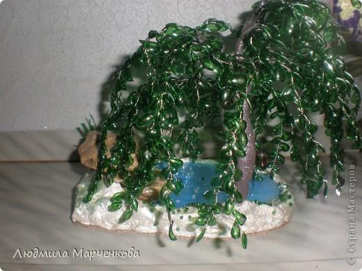 Ива из пл. бутылки + водопад. Мини МК фото 7