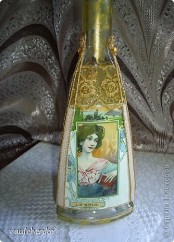 Долго создавалась эта поделка... Воспоминание о лете... Красивая трехгранная бутылка - ну как же её украсить? Мысли бродили вокруг Времен года - но граней то всего ТРИ! фото 5