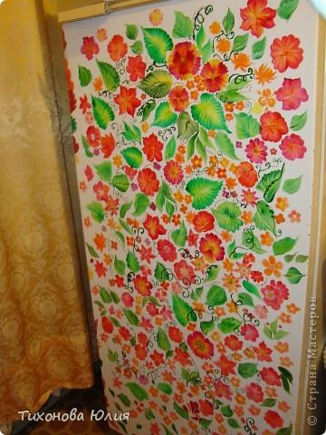 Холодильник Бирюса расписывала акриловыми красками.  фото 1