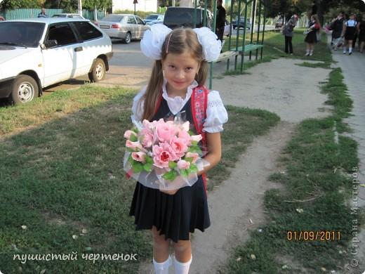 Букет для дочери на 1 сентября, вот таким его я сделала после долгих мытарств. фото 1