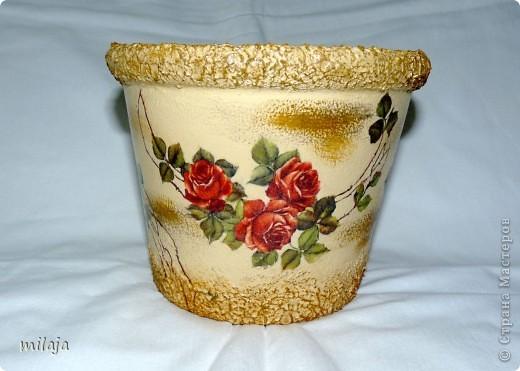 Стеклянная ваза: приклела рисовую декпажную карту, сверху затонировала перламутровой краской фото 4