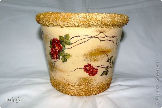 Стеклянная ваза: приклела рисовую декпажную карту, сверху затонировала перламутровой краской фото 5