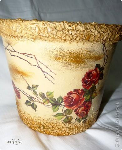 Стеклянная ваза: приклела рисовую декпажную карту, сверху затонировала перламутровой краской фото 6