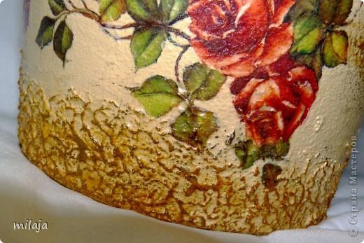 Стеклянная ваза: приклела рисовую декпажную карту, сверху затонировала перламутровой краской фото 7