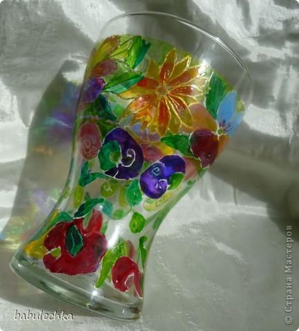 Розы в витражной вазе-очень красиво! фото 5