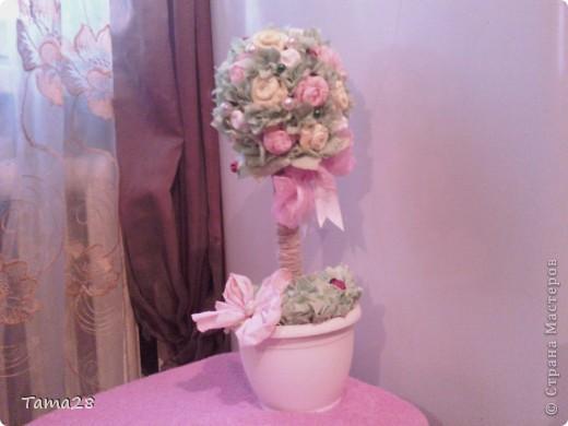 Привет всем мастерицам! это мое первое деревце из роз,а розы из бумажных салфеток. училась крутить их на сайте у всех понемногу.Зацените! оно уже подарено. Хотела поярче,но ярких салфеток не нашла. фото 1