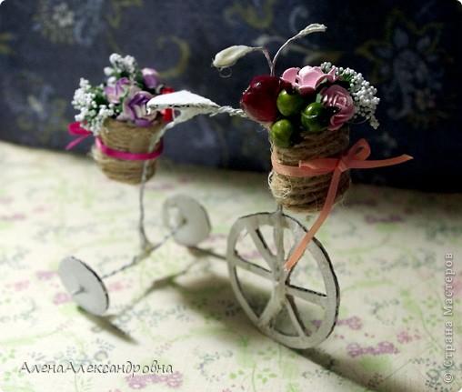 Увидела такой велосипед у девушки Любы https://lh5.googleusercontent.com/-IZAeQPso4Fk/TWxw6hYuLqI/AAAAAAAAB08/N9IoFyYva7I/s1600/GEDC0850.JPG и непременно захотела себе такой же! Делается ну очень просто.Использовала проволоку и коробочный картон. Крепила с помощью горячего клея. фото 2