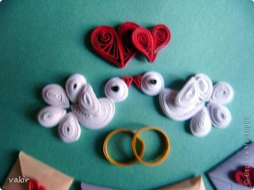 Эту открытку я делала по просьбе дочки для её подруги, у которой сегодня свадьба. Дизайн  выбирала Анюта. Нам очень нравятся открытки Елены Милбрадт. Решили сповторюшничать. Спасибо Елене за такую прекрасную идею http://stranamasterov.ru/node/131680  фото 4