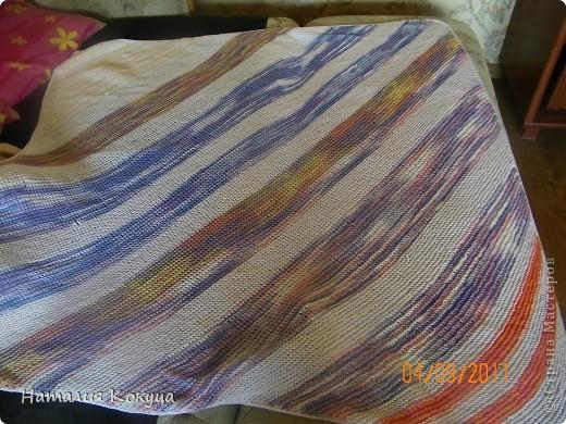 """Одеяло размером 1м70смх1м50см. Вязалось из остатков пряжи разных """"мастей"""""""