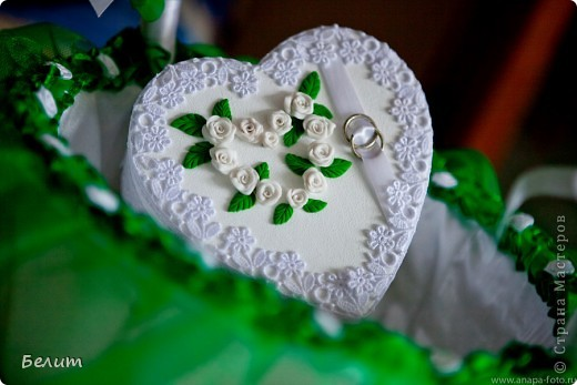 шкатулочка для колец (за основу пошла обычная подарочная коробочка в виде сердца+белая акриловая краска, кружево посажено на момент-гель, розочки и листики из пластики) фото 6