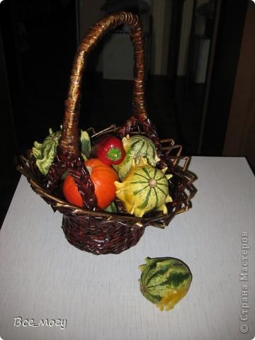 Осенняя корзина с урожаем ( декоративные тыквы с дачи) фото 1