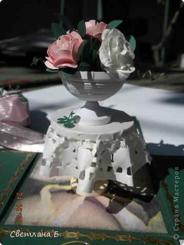"""Коробочка-шоколадница сделана по моему любимому скетчу. В работе использовала картон """"Флора"""", гофрированный картон, ажурную салфетку, атласную ленту, дырокольное бумажное кружево, наклейки бабочек и цветочков. фото 10"""