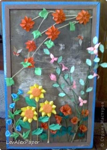 Цветочная картина оригами