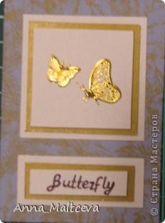 """Привет! Вот наконец-то сделала новую серию -""""Бабочки"""". Фон-ткань(тик перьевой). Цвет - голубой с золотом.  фото 7"""