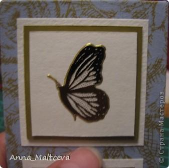 """Привет! Вот наконец-то сделала новую серию -""""Бабочки"""". Фон-ткань(тик перьевой). Цвет - голубой с золотом.  фото 11"""