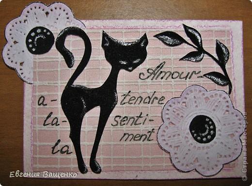 Кошечки, веточки и сердцевинки цветочков - бархатная бумага; цветы - салфетка; фон - обои. Размер: 90*65 мм фото 3